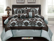 7P Silky Poly-Satin Flocking Damask Floral Square Comforter Set Blue Brown Queen