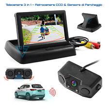 """Kit Retromarcia Monitor 4.3"""" Scomparsa e Telecamera con 2 Sensori di Parcheggio"""