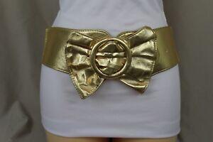 Women Gold Fashion Belt Hip High Waist Faux Leather Bow Tie Buckle Plus M L XL