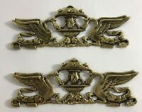 """Vintage Brass Metal Fountain Swan Decoration Topper Set of 2 - 8"""" long"""