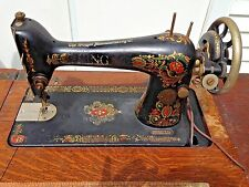 1921 Singer 66 Red Eye Treadle Sewing Machine & Cabinet -Good finish, needs work