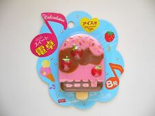 Pink Strawberry Ice Cream on a Stick Shaped Pocket Calculator, 8-Digit Display
