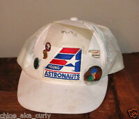 Young Astronauts Hat Cap Red White Blue Snapback Trucker Vintage Space Pins NEAT