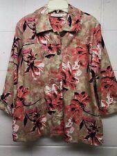 Breckenridge Orange Brown Floral Women's Jacket Blazer M Buttons Front
