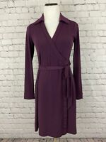 Calvin Klein Purple Wrap Tie Dress Long Sleeve Sz 6