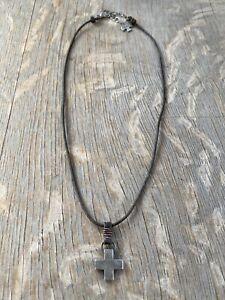 Sundance Catalog Peyote Bird Leather And Cross Necklace