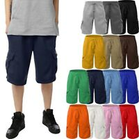 Mens CARGO SWEAT SHORTS Fleece Basic Light Comfy Elastic Drawstring 5 Pockets