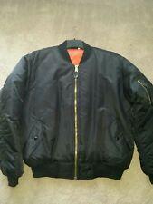 Rothco Mens Size Large Black Nylon Aviator Bomber Jacket Coat Biker