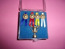 HANDCRAFTED  TROPHY AND RIBBONS DOLL HOUSE MINIATURE
