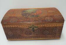 Vintage Footed Trinket Jewelry Keepsake Wood Hinged Box w/ Mirror