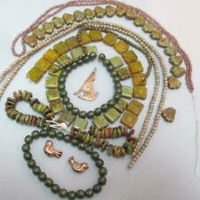 HUGE, Olive Picasso Squares + Leaf +Safari beads w/Coyote and Birds