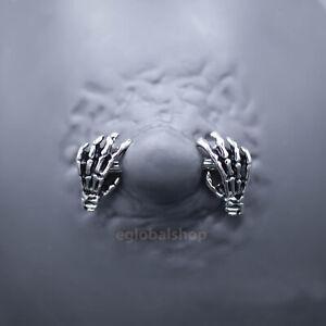 Skeleton Hands Fangs Nipple Ring Stainless Steel Jewellery Body Bar Piercing UK