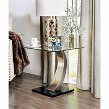 Furniture of America Navarre Glass Top End Table in Satin