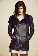 Veda Black Leather  Saint Genuine Shearling Coat P XS / S