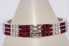 40.00ct 3 Reihen Natürliche Rubin & Diamantarmband 18k Wg