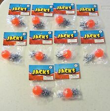 10 SETS OF METAL STEEL JACKS AND SUPER RED RUBBER BALL GAME CLASSIC TOY KIDS