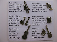 Music charms for scrapbooking, card and jewelry making - 8 charms & quotes