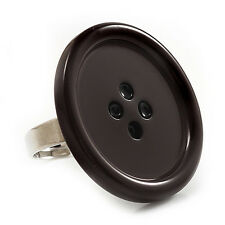Black Plastic 'Button' Ring (Silver Tone Metal) - Adjustable