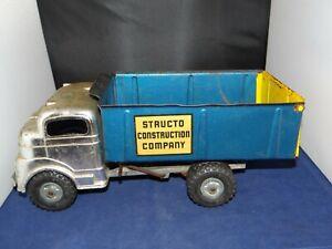 "Original 1950's Structo ""CONSTRUCTION COMPANY"" Blue & Yellow Dump Truck VG COND!"