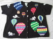 Quacker Factory Hot Air Balloons Clouds Black Button Sweater Top Women Size 3X