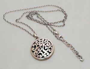 Pre-owned Brighton Contempo Silver Disc Pendant Bold Necklace