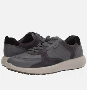 ECCO Soft 7 Runner Perforated Sneaker Dark Shadow Magnet Black EU 46 Men's 12 US