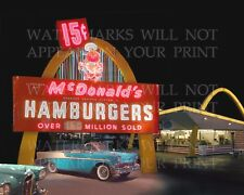 1950s McDonald's restaurant and cars night photo, CHOICE 5x7 or request 8x10 or