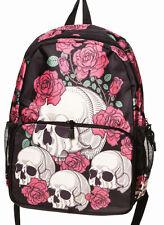 Prohibido Apparel cráneos & Rosas Gótico Mochila Mochila Escolar Bolsa Impermeable