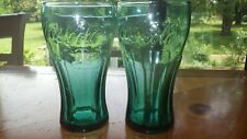 Green Coke Glasses Vintage Retro Style 2 16 ounce traditional style