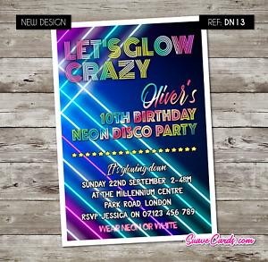 UV GLOW Neon Disco Personalised Birthday Invitations, Party Invites Glow Crazy