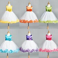 NEW Tulle Rose Petal Dress Flower Girl Easter Spring Summer Birthday Recital#22