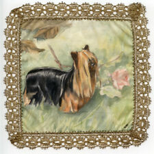 More details for yorkshire terrier yorkie dog hand painted on silk with gold lace border