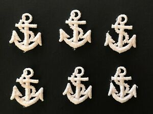 Pack 6 Vintage Sew On Embroidery Patches Anchor Motif Nautical Sewing Trim 3.8cm