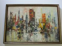 ENRICO ZABLAN  PAINTING CITY URBAN MODERNISM EXPRESSIONISM FILIPINO  ABSTRACT