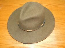 Stetson men's Wool crushable half Dome ranchers hat w leather trim & Strap Med