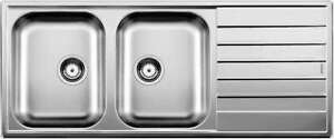 Blanco Double Left Hand Bowl Inset Sink With Drainer LIVIT8SLK5