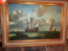 """Hogue:"""" French War Ships in choppy Seas"""" large painting-=framed; well done-wow"""