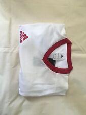 Brand New, Mens Adidas White and Red Short Sleeve Sports T Shirt/ Top (Small)