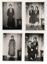 Lot 4 PHOTOS Femme Assise Chaise Vice Versa Porte Snapshot Vintage 1940-1950