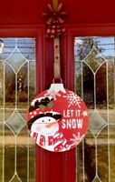 Let It Snow Snowman Door Wreath Let It Snow Xmas Wall Hanging Decor Ornament