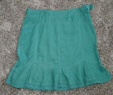 Athleta Linen Skirt Green Sz 6 Poolside Skirt A-Line crochet trim lace up side