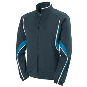 Augusta Adult Rival Jacket SLATE   POWER BLUE   WHITE MD