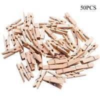 50PCS DIY Mini Wooden Clothe Photo Paper Peg Clothespin. J3K9