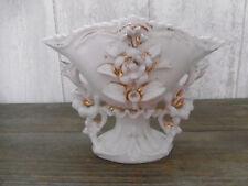 Vase de Mariée ancien Ht.13cm porcelaine de Paris Blanc/Or Napoléon III église 2