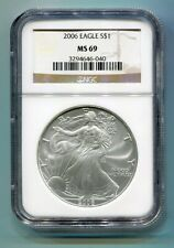 2006 AMERICAN SILVER EAGLE NGC MS 69 BROWN LABEL PREMIUM QUALITY MS69 PQ