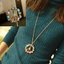 Retro Vintage Peace Sign Flower Leaf Pendant Long Sweater Chain Necklace Gift