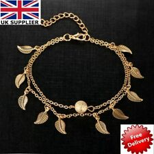 Adjustable Chain Foot Beach Jewelry Gold Leaf Ankle Bracelet Women Anklet