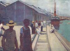 BRAZIL. The Docks at Santos 1908 old antique vintage print picture