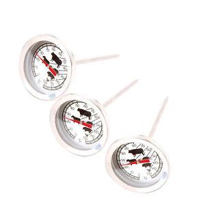 3 BBQ Grill Thermometer Fleisch Braten Gar Backofen Kerntemperatur Messer Analog