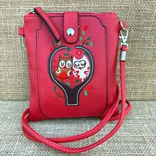Red Owl Small Cross body Bag with Smart Phone Spectacle Holder Long Strap